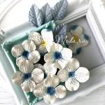 Набор Гортензии и Листочки, цвет:Mix Голубой, цветочки 45 мм, листья 24х40мм., 12 шт. UC003076