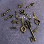 Набор Металлических подвесок Ключики MIX, цвет античная бронза, размер от 18 до 55 мм., цена за 12 шт., UC003079