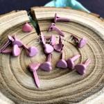 Набор брадс Сердечки розовые, размер 6 мм., 16 шт, длина ножки 8 мм., UC003095