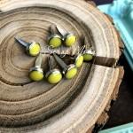 Набор брадс Круглый в металлической оправе, цвет: лимонный размер 6 мм., длина ножки 12 мм., 8 шт, UC003101