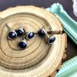 Набор брадс Круглый в металлической оправе, цвет: чернильный,  размер 8 мм., длина ножки 15 мм., 6 шт, UC003102