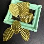 Листья золотые, тканевые на проволоке, размер 30х50 мм., 9 шт., UC003121
