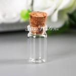 Стеклянная Mini Бутылочка с пробкой, размер 18х10х10мм., цена за 1 шт., UC003141