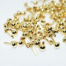 Брадс Полусфера, цвет: золото, длина 12 мм., шляпка 8 мм, 25 шт., UC003175