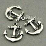 Подвеска Якорь, серебро, металл, 24х20 мм., цена за 1 шт. PU000028