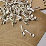 Подвеска Ложечка, серебро, металл, 6х24мм.,  цена за 1 шт., UP000232
