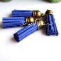 Подвеска Кисточка замшевая, Синяя, основа бронза, металл, 40х11мм., цена за 1 шт., UP000537