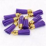 Подвеска Кисточка замшевая, Фиолетовая, основа золотая, металл, 40х11мм., цена за 1 шт., UP000572