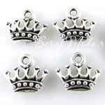Подвеска Корона, серебро, металл, 13х14мм.,  цена за 1 шт., UP000587