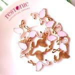 Подвеска розовый Фламинго, основа золото, металл, 18х28 мм., цена за 1 шт., UP000589