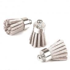 Подвеска Кисточка замшевая, серая, основа серебро, металл, 18 мм., цена за 1 шт., UP000590