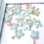 Подвеска Бодик Baby Boy золотая с голубой эмалью, 22х15мм, цена за 1 шт., UP000599