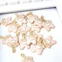 Подвеска Бодик Baby Girl золотая с розовой эмалью, 22х15мм, цена за 1 шт., UP000600