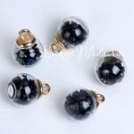 Подвеска Шар с чёрными алмазами, колпачёк золото, 22 мм, цена за 1 шт., UP000609