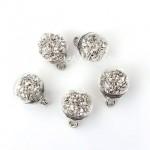 Подвеска Шар с серебристыми камушками, колпачёк серебро, 22 мм, цена за 1 шт., UP000611