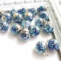 Подвеска Шар с синем миксом бульонками, колпачёк серебро, 22 мм, цена за 1 шт., UP000613