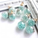 Подвеска Шар с мятными алмазами, колпачёк золото, 22 мм, цена за 1 шт., UP000614