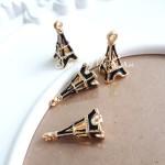 Подвеска Эйфелева башня золотая с чёрной  эмалью, 10х24мм, цена за 1 шт., UP000619