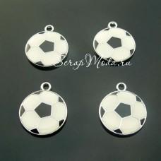 Подвеска Футбольный мяч, серебро с эмалью, 24х19мм, цена за 1 шт., UP000626