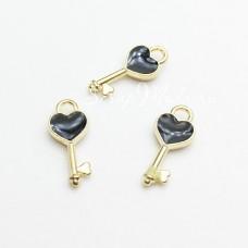 Подвеска Ключик золотой с чёрной эмалью, 24х19мм, цена за 1 шт., UP000629