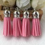 Подвеска Кисточка замшевая, цвет:Пыльно-Розовый, основа серебро, размер 40х11мм., цена за 1 шт., UP000656