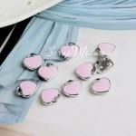 Подвеска Сердечко-замочек 3D, цвет: розовый, основа серебро, металл, 11х12 мм., цена за 1 шт., UP000664