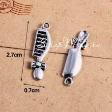 Подвеска Расчёска с бантиком, цвет: серебро, металл, 7х27мм.,  цена за 1 шт., UP000665