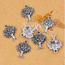 Подвеска Дерево, цвет: серебро, металл, размер 22х17х2 мм.,  цена за 1 шт., UP000668