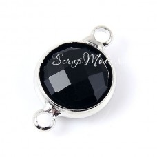 Подвеска 3D, соединительная, Кристалл-камень Чёрный, в серебряной  оправе, 10х16 мм, цена за 1 шт., UP000671
