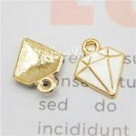 Подвеска Кристалл белый, основа золото, металл, размер 16 мм., цена за 1 шт., UP000679