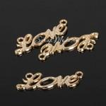 Коннектор подвеска Love, цвет золото, размер 3,4х1,2 см., UP000680
