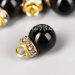 Подвеска Чёрный Шарик+стразы, с петелькой, глянец, основа золото, размер 10х12 мм., цена за 1 шт. UP000685
