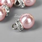 Подвеска Розовый Шарик+стразы, с петелькой, глянец, основа серебро, размер 10х12 мм., цена за 1 шт. UP000689