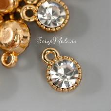 Подвеска Бриллиант в оправе, золотой с камнем, размер 6х6 мм, цена за 1 шт., UP000700