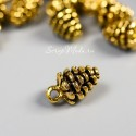 Подвеска Шишка 3D, золото, размер 10х7 мм, цена за 1 шт., UP000709