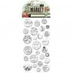 Набор Картонных Пуговиц, London Market Chipboard Buttons, 26 шт., Pink Paislee