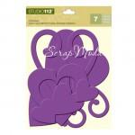 Набор Чипборд с Глиттером Hearts Purple 330, Сердечки, Цвет сиреневый, 7 штук, K&Company