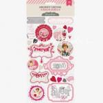 Высечки-Наклейки 351, 27 шт., Secret Crush, Pink Paislee