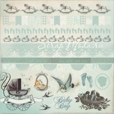 Высечки матовые, на самоклейке - Bundle of Joy - Boy Collection, 300х300 мм., Kaiser Craft, VT000363