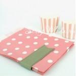 Бумажный пакет,  розовый в белый горох, 180х135 мм., размер гороха на пакете 10 мм., цена за 1 шт., VT000500