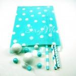 Бумажный пакет,  мятный в белый горох, 180х135 мм., размер гороха на пакете 9 мм., цена за 1 шт., DA040216, Dolce Arti, VT000517