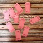 Билетики розовые с номером, цена за 5 шт., 25х50 мм., VT000578