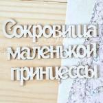 Чипборд-заголовок Сокровища маленькой принцессы, общий размер 8х5,5 см см в длину, высота букв 1 см., Woodheart. VT000645