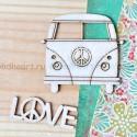 Набор чипборда Love, размер: автобус 5х5 см, слово 4х1,5 см, Woodheart. VT000672