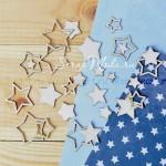Набора чипборда Звезды 2,  в наборе 27 звезд разного размера от 1,3 см до 3,5 см., Woodheart. VT000677