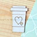 Чипборд Стаканчик с сердечком, размер: 5х3 см., Woodheart. VT000681