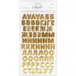 Картонные стикеры - Алфавит с золотым фольгированием, кол-во: 144 шт., Polkadot, VT000720