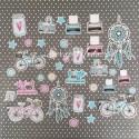 Набор высечек Живи, люби, твори, 26 элемента, Mona Design, VT000736