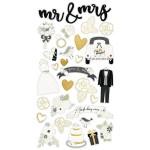 Чипборд  на самоклейки Always&Forever, с золотым фольгированием, размер упаковки: 30х15см.,  в наборе 31 элемент, Simple Stories, VT000934
