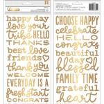 Стикеры стикеров-фраз, золотые стикеры из фоамирана , в наборе 120 элементов, 2 листа, American Craft, VT000939